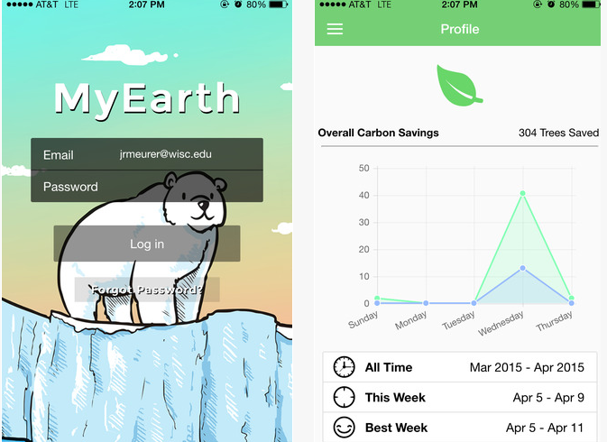 My Earth App for earth day global warming carbon footprint tracker
